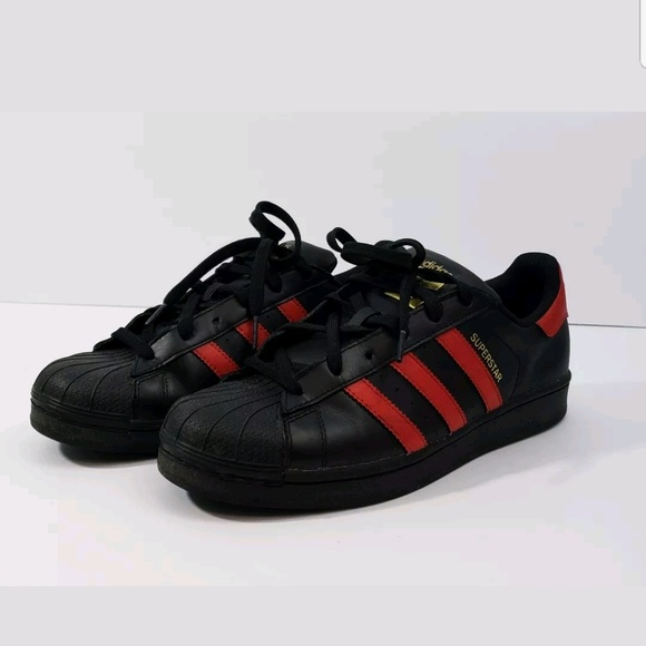adidas superstar black and red